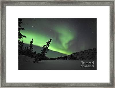 Aurora Borealis Over Vee Lake Framed Print by Jiri Hermann