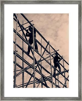 Bamboo Scaffolding Framed Print by Yali Shi