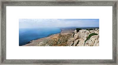Beautiful View On Mediterranean Sea From Cape Gkreko In Cyprus Framed Print by Oleksiy Maksymenko