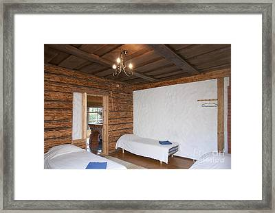 Beds In A Wooden Bedroom Framed Print by Jaak Nilson