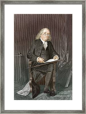 Benjamin Franklin, American Polymath Framed Print by New York Public Library