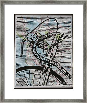 Bike 2 On Map Framed Print by William Cauthern