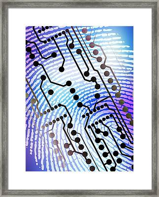 Biometric Fingerprint Scan Framed Print