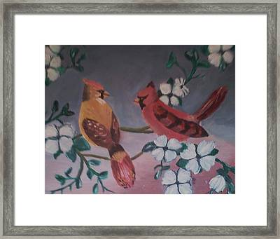 Framed Print featuring the painting 2 Birds by Christy Saunders Church