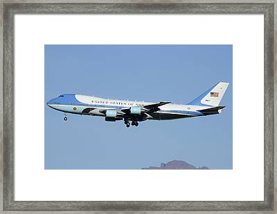 Boeing Vc-25a 82-8000 Air Force One Phoenix-mesa Gateway Airport January 25 2012 Framed Print by Brian Lockett