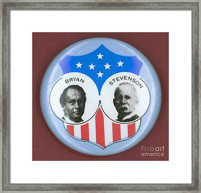 Bryan Campaign Button Framed Print by Granger