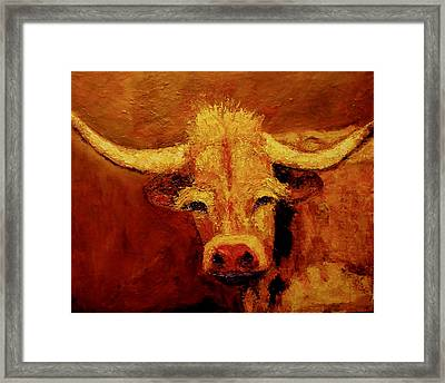 Framed Print featuring the painting Bull by Marie Hamby