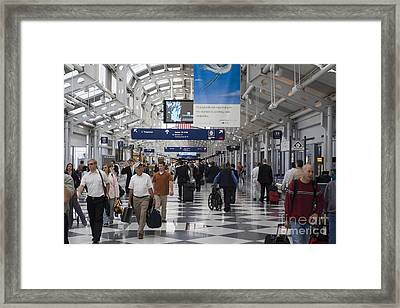 Busy Airport Terminal Concourse At Chicago's O'hare Airport Framed Print by Christopher Purcell