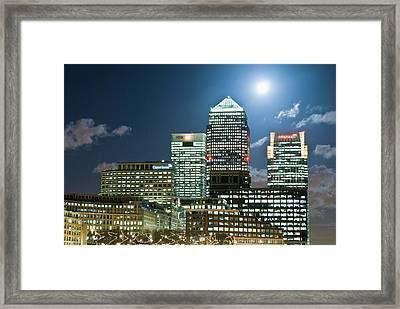 Canary Wharf At Night Framed Print by John Harper