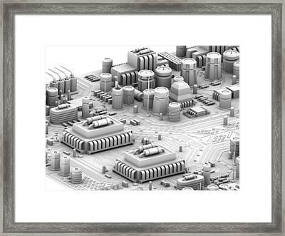 Circuit Board, Artwork Framed Print by Pasieka