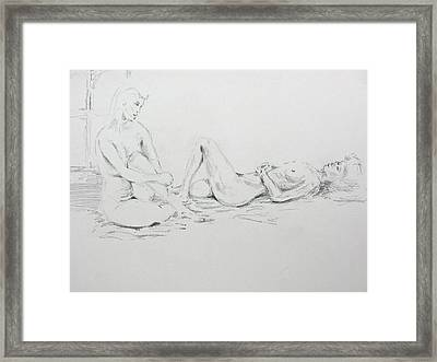 Framed Print featuring the drawing 2 Close Friends by Brian Sereda