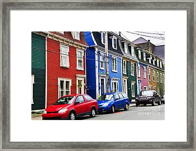 Colorful Houses In St. John's Framed Print by Elena Elisseeva