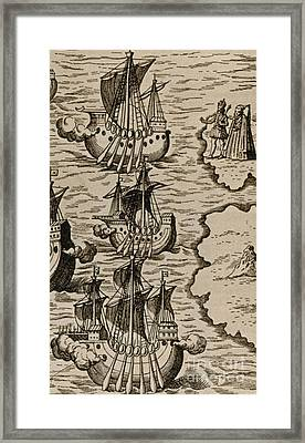 Columbus Caravels Depart Spain, 1492 Framed Print by Photo Researchers