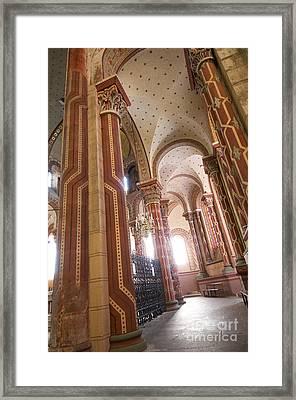 Columns Of The Roman Church Saint-austremoine D'issoire. Issoire. Auvergne. France Framed Print by Bernard Jaubert