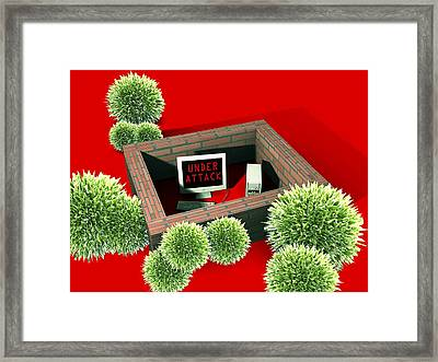 Computer Virus Attack, Computer Artwork Framed Print