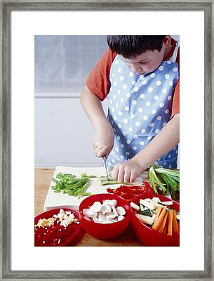 Cooking A Stir Fry Framed Print by Veronique Leplat