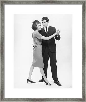 Couple Dancing In Studio, (b&w) Framed Print by George Marks