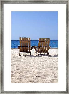 Framed Print featuring the photograph Cozumel Mexico Beach Chairs And Blue Skies by Shawn O'Brien