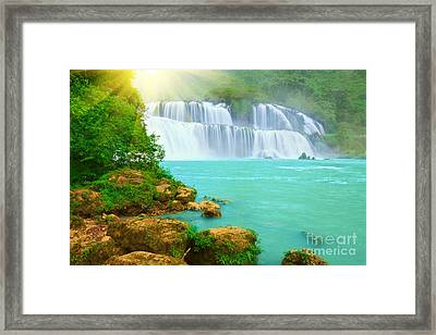 Detian Waterfall Framed Print