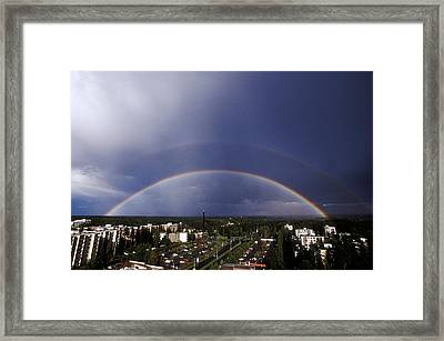 Double Rainbow Over A Town Framed Print by Pekka Parviainen