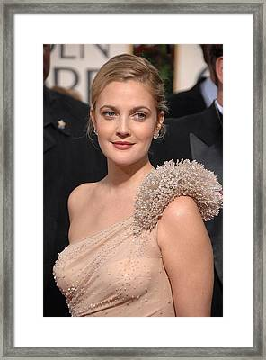 Drew Barrymore Wearing An Atelier Framed Print by Everett