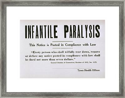 Early 20th Century Quarantine Sign Framed Print by Everett