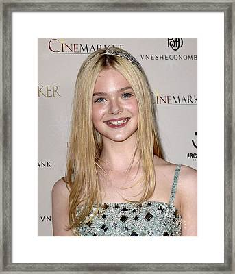 Elle Fanning At Arrivals For The Framed Print by Everett