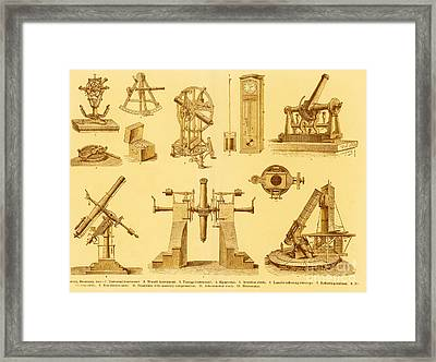 Engraving Of Historical Astronomy Framed Print by Science Source