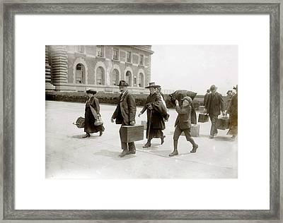 European Immigrants Arriving At Ellis Framed Print by Everett