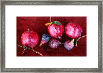 Figs And Pomegranates Framed Print by Ron Regalado