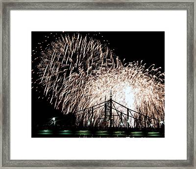 Framed Print featuring the photograph Fireworks by Michael Dorn