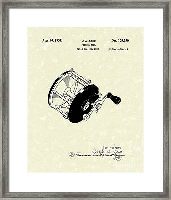 Fishing Reel 1937 Patent Art Framed Print