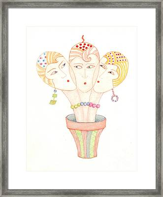 Framed Print featuring the painting Flower Pot Ladies by Nareeta Martin