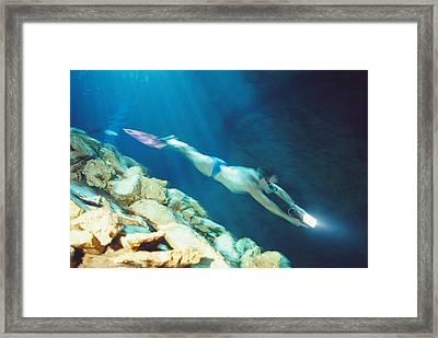 Free-diver Framed Print