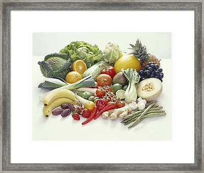 Fruits And Vegetables Framed Print by David Munns