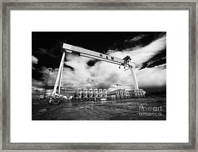 Giant Harland And Wolff Crane Goliath At Shipyard Titanic Quarter Queens Island Belfast Framed Print by Joe Fox