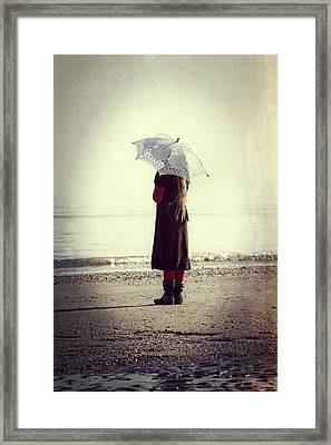 Girl On The Beach With Parasol Framed Print by Joana Kruse