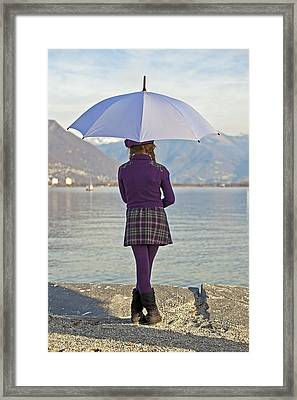 Girl With Umbrella Framed Print by Joana Kruse