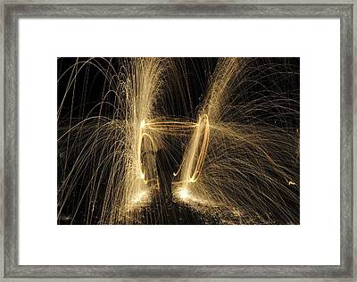 Glowing Spark Spiral Framed Print by Photostock-israel