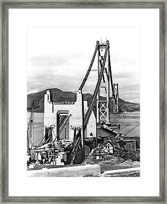 Golden Gate Bridge Work Framed Print by Underwood Archives