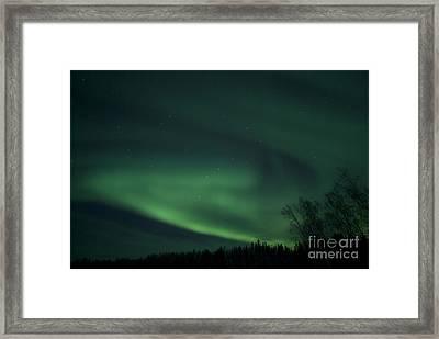 Green Aurora Above Far Lake Framed Print by Yuichi Takasaka