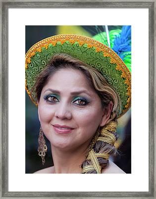 Hispanic Columbus Day Parade Nyc 11 9 11 Female Marcher Framed Print by Robert Ullmann