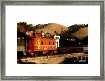 Historic Niles Trains In California . Old Southern Pacific Locomotive And Sante Fe Caboose . 7d10843 Framed Print by Wingsdomain Art and Photography