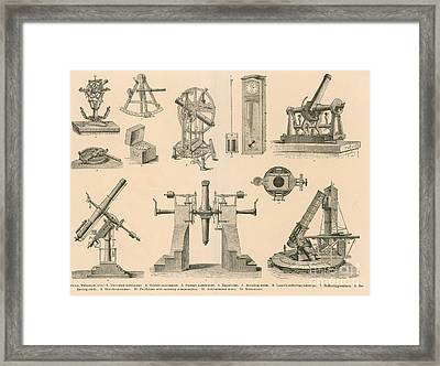Historical Astronomy Instruments Framed Print by Science Source