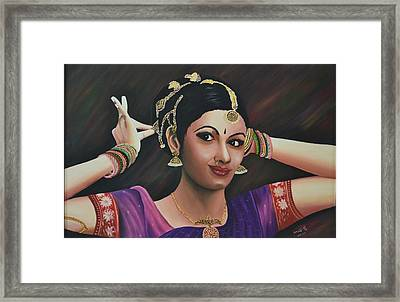 Indian Dancer Framed Print by Usha Rai