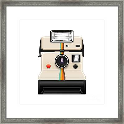 Instant Camera With A Blank Photo Framed Print