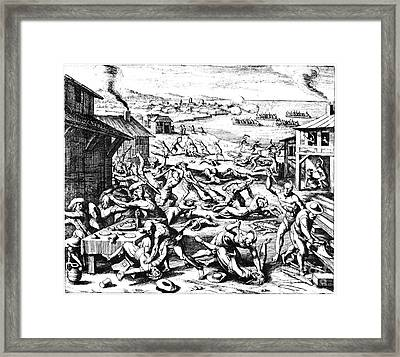 Jamestown: Massacre, 1622 Framed Print by Granger