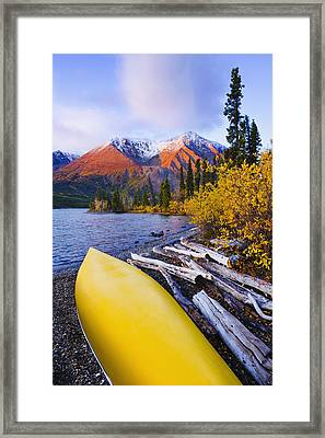 Kathleen Lake And Mountains, Kluane Framed Print by Yves Marcoux