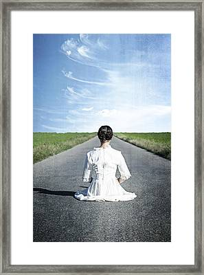 Lady On The Road Framed Print by Joana Kruse