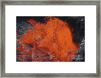 Lava Bursting At Edge Of Active Lava Framed Print by Richard Roscoe